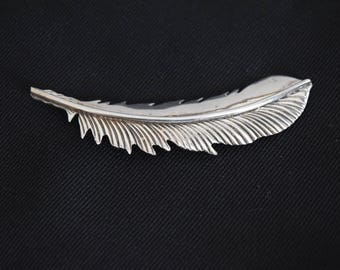 G. Nelson Navajo Sterling Silver Feather Brooch