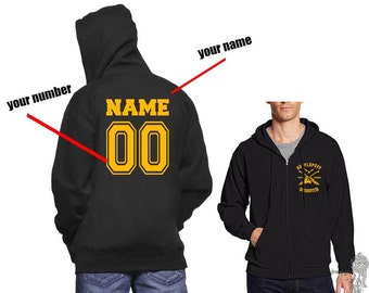 CHASER - ZP Custom Back, Huffle Quidditch team Chaser Yellow print printed on Black Zipper Hoodie