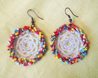 Colour Earrings, Beads Hoop Earrings, Crochet earring, crochet Beads earring, Beads earrings, Beads Colour Earrings, Crochet hoop Earrings
