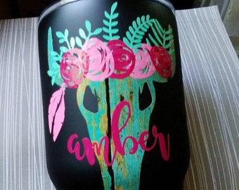 Floral Steer Skull, Boho Flowers Skull, Distressed wood vinyl decal, RTIC Cup decal, Tribal animal