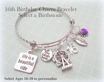 Teenage Girl Birthday Gift, 16th Birthday Charm Bracelet, Personalized Birthday Birthday Present, Gift for Teenage Girl, Personalized Gift
