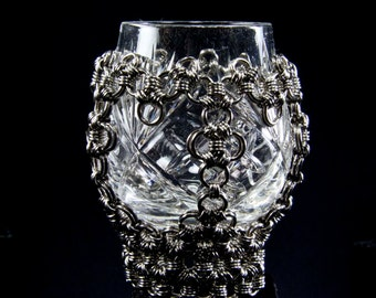 Faraday's goblet \ Altar Goblet \ One of a Kind Chainmaille  Goblet \  Vintage Goblet \ Wiccan tool \ Coven Gift \ Witchcraft