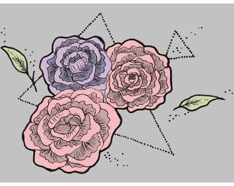 Peonies - tattoo style flower print MEDIUM