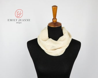 """Single Loop Infinity Scarf in Soft Cream Diamond-Patterned Sweater Knit - 20""""x25"""" Fashion Infinity Scarf"""