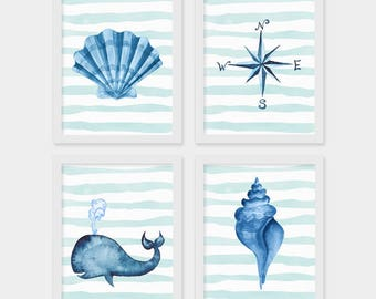 Instant Download, Set of 4, Nautical Print, Nautical Decor, Boho Decor, Nautical Nursery, Cottage Decor, Beach Life, Coastal, Summer Decor