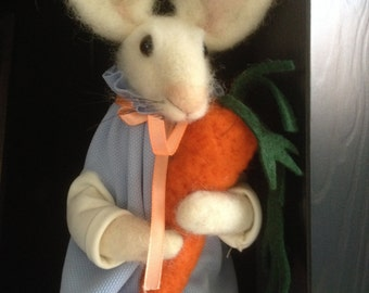 Needle Felted Eco-friendly toy Rabbit with carrot