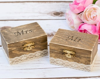 Mr Mra Wedding Ring Bearer Box Rustic wedding  His Hers Rustic Ring Bearer Box Ring Pillow Wedding Ring Holder Set of 2