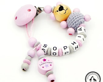 Dummy name - magic mouse/Häkelteddy in light grey/pink - new-