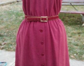 Vintage 1970s ultrasuede type belted dress waist 26