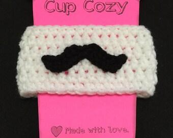 Crochet Cup Cozy, Crochet Coffee Cozy, Mustache Cup Cozy