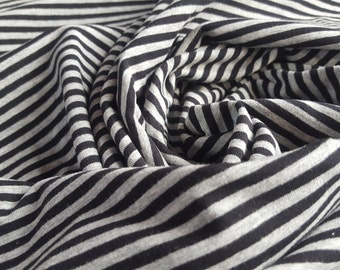 Cotton Jersey Knit Fabric with Black and Grey Stripes - UK Seller
