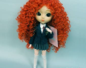 "Curly Wig 9-10"" for Pullip, Blythe, BJD and similar size doll. Orange."