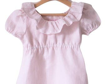 Rose water stripe linen top