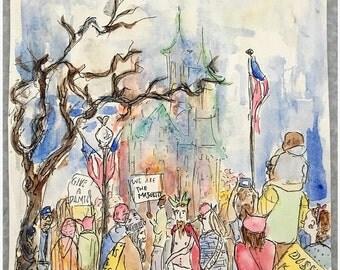 PRINT: Women's March, D.C., 2017