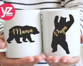 Gold Font Mama & Papa Bear Mug Set | Mama Bear Mug | Papa Bear Mug | Mom Mug | Dad Mug | Mom Gift Cup | Dad Gift Cup | New Mom and Dad Mug