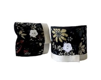 Tyny flowers fabric Cuff Bracelet