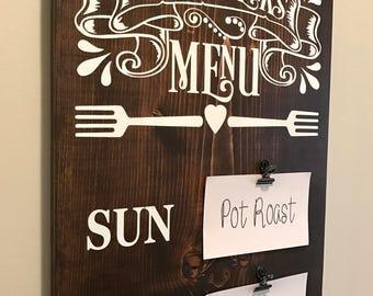Farmhouse Decor, Menu Board, Meal Planning Sign, Wooden Kitchen Sign, Fixer Upper Decor, Rustic Home Decor, Dining Room Decor