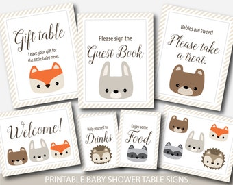 Woodland baby shower table signs Woodland baby shower decorations Woodland animals baby shower table sign Woodland decor & party sign BW1-02
