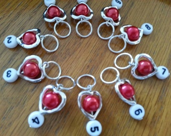 crochet stitch counters-stitch markers for knitting-gift for her-stitch markets-work in progress