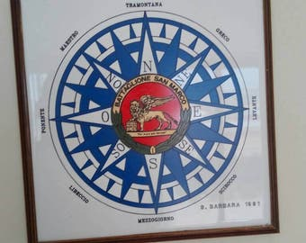Picture of the wind rose on ceramic tile year 1991