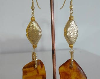 Vintage earrings with amber