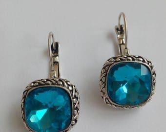 Vintage Blue Crystal earrings the years 1980
