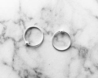 Hoop earrings with tiny ball, small hoop earrings, sterling silver hoop
