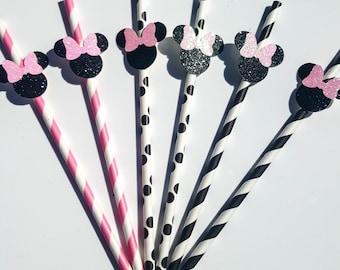 Minnie Party Straws, Party Supplies, Birthday Party Supplies, Paper Straws, Minnie Party Decorations, Minnie in Paris