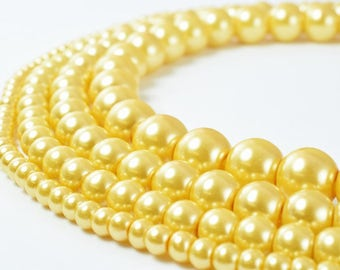 Glass Pearl Beads Round Gold Size 4mm/6mm/8mm/10mm Shine Round Ball Beads for Jewelry Making Item#789222046279