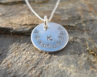 "Handmade Personalised Silver Pendant with 18"" Silver Chain"