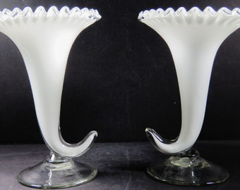 "Pair of Czechoslovokia 8"" Silver Crest Hand Blown Cornucopia Vases  Silvercrest"