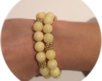 10 mm Beaded bracelet, quartz bracelet, natural quartz bracelet, yellow dye quartz bracelet, stretch bracelet, beaded bracelet women