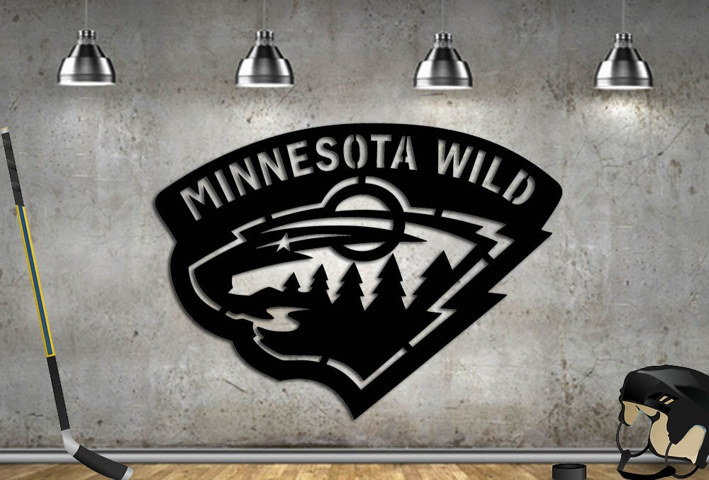 Man Cave Signs Nhl : Hockey sign minnesota metal wild man cave