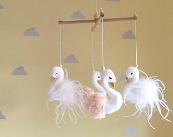 Baby mobile- swan mobile- crib mobile- cot mobile- nursery mobile- swan nursery decor- baby girl mobile- swan mobile- swan decor- peach