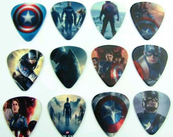 Avengers Captain America Guitar Pick Set Collection Collectible Comic Movie Gift Set of 12 Guitar Picks Plectrums Marvel DC Comic Book Gift