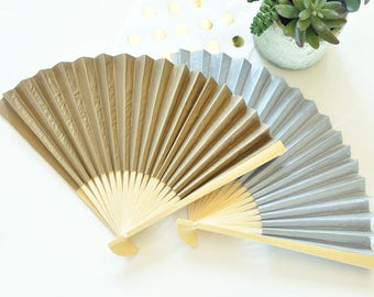 36 Personalized Colored Paper Fans, Personalized Wedding Paper Hand Fans - 36 pieces