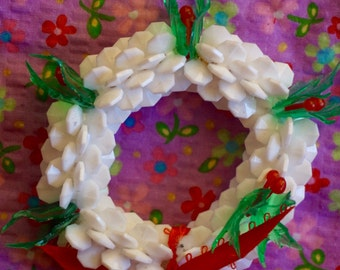 Vintage 70s Beaded Christmas Wreath Ornament. Vintage 70s Beaded Holiday Wreath Ornament