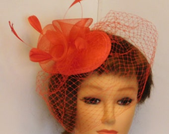 Red Birdcage veil Hat Fascinator Weddings  Race Royal Ascot  Christmas frenchnet Teardrop hat,Vintage inspired French net feather mini HAT