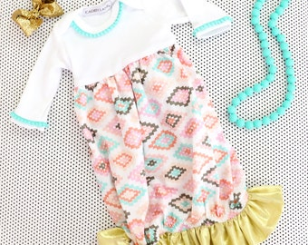 Alexis's Aztec Coral, Aqua, and Gold Ruffled Baby Girl Newborn Layette Gown | Tribal Baby Girl Going Home Outfit | Ruffled Baby Gown