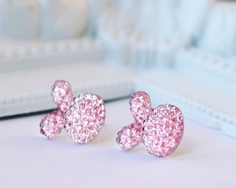 Easter Gift Earrings, Rhinestone Bunny Earrings, Rabbit Studs, Earrings, Easter Earrings, Rhinestone  Hare Earrings Gift for girl Light Pink