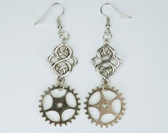 Earring ornament with gears to Silver earrings earrings jewelry hanging earrings steampunk gear pair of earrings