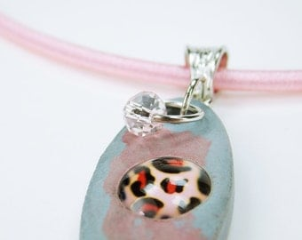 Necklace blue - reddish concrete jewelry with pink Leopard cabochon unique concrete on the pink silk ribbon Pink Pearl Jewelry pink concrete jewelry