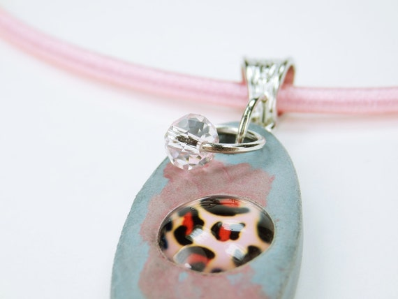 Necklace Blue-Red concrete jewelry with pink leopard cabochon unique concrete on pink silk ribbon Pink pearl jewelry Pink Concrete Jewelry