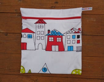 Bright Houses School Large Poppins Waterproof Lined Zip Pouch - Sandwich bag - Eco - Snack Bag - Bikini Bag - Lunch Bag - Tool Bag - Swim