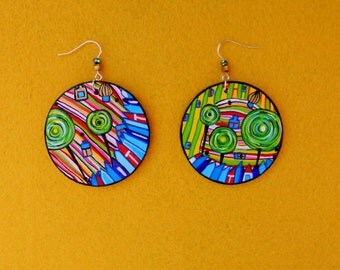 Art Earrings from wood Handmade Gold Blue Red  Yellow Pink acrylic painting Hundertwasser Ladies Gift