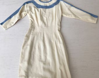 Super cool 1950s wiggle dress with contrast stitching
