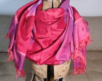 Large Reds Purples Fringe Scarf, Raw Edge Woven Big Shaw Scarf