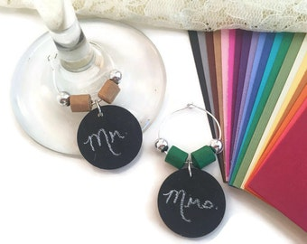 Wedding Wine Glass Charm Favors, Chalkboard Wine Charms Wedding Favors With CUSTOM COLOR Paper Beads, Custom Wedding Wine Charm Favors