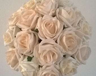 Bridal Bouquet - Vintage Peach and Champagne Blush - Artificial Foam Roses - Wedding Flowers.