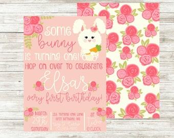 Bunny Birthday Invitation   Birthday Party Invite